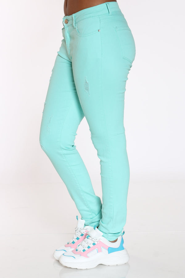 Women's Ripped Twill Pant - Mint