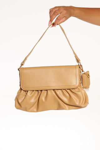 Women's Pleated Flap Shoulder Bag - Toffee-VIM.COM