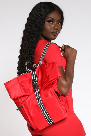 Women's Roll Top Backpack - Red-VIM.COM