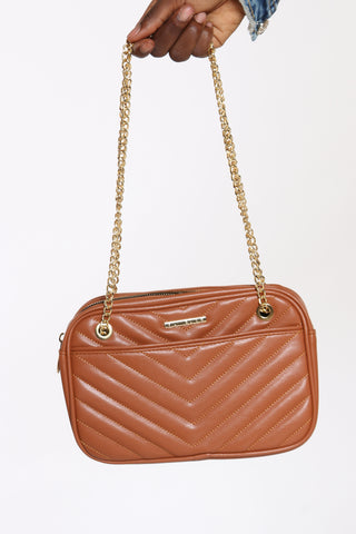 Women's Pu Quilted Crossbody - Brown-VIM.COM