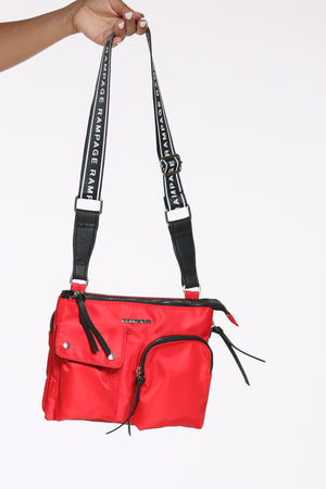 Women's Nylon Utility Crossbody Bag - Red-VIM.COM