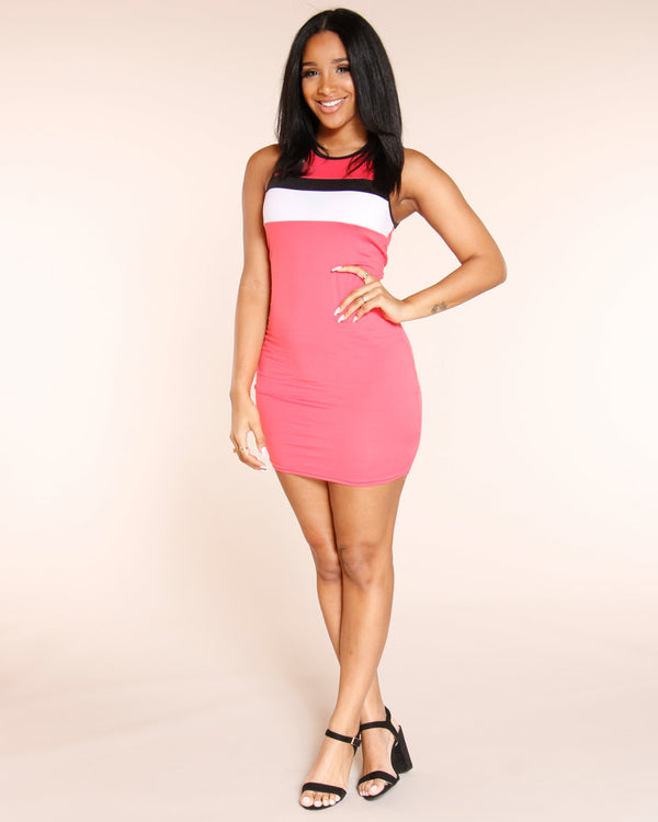VIM VIXEN Block Out The Haters Dress - Coral - ShopVimVixen.com
