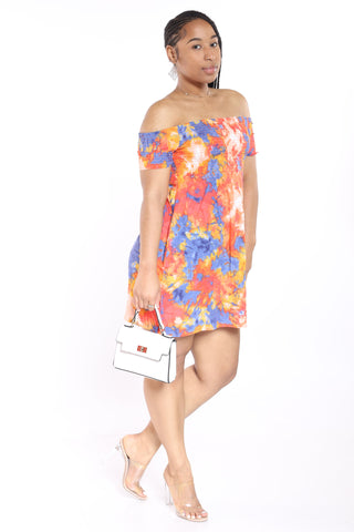 Tie Dye Off Shoulder Dress - Orangeecli-VIM.COM