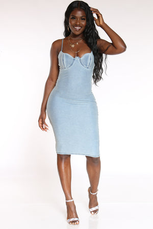 Women's Denim Cupped Dress - Blue