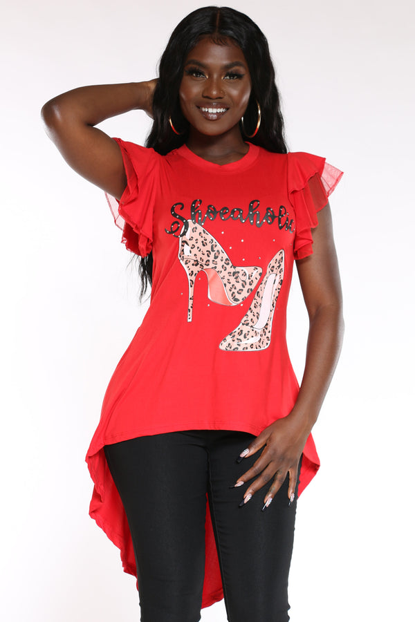 Women's Shoeaholic Heel Hi Lo T-Shirt Dress - Red-VIM.COM