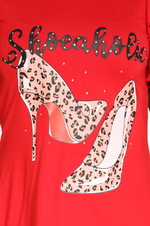 Women's Shoeaholic Heel Hi Lo T-Shirt Dress - Red