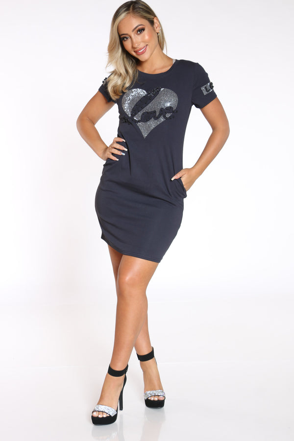 Women's Love Heart Tshirt Dress - Navy