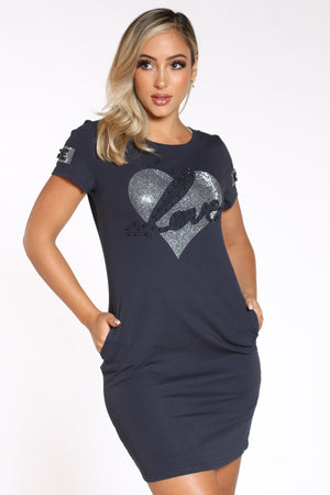 Women's Love Heart Tshirt Dress - Navy-VIM.COM
