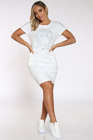Women's Smiley Rhinestone Tshirt Dress - White-VIM.COM