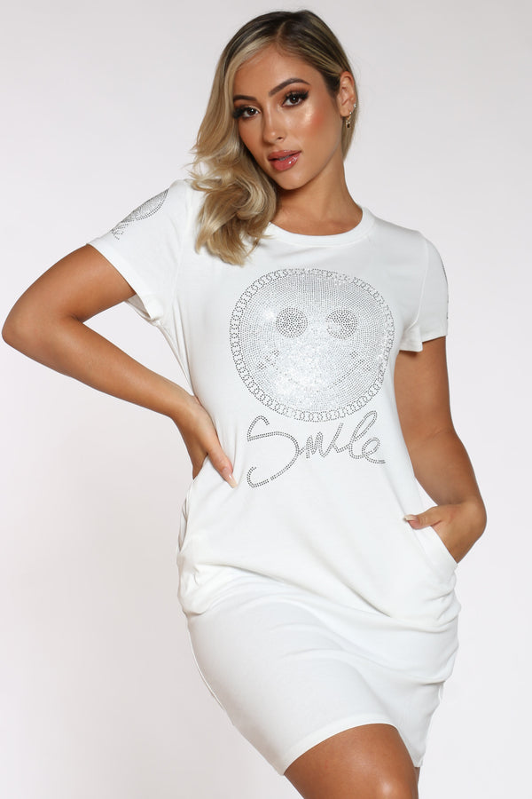 Women's Smiley Rhinestone Tshirt Dress - White