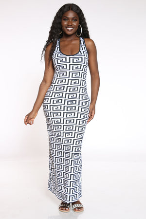 Women's Zig Zag Print Dress - White