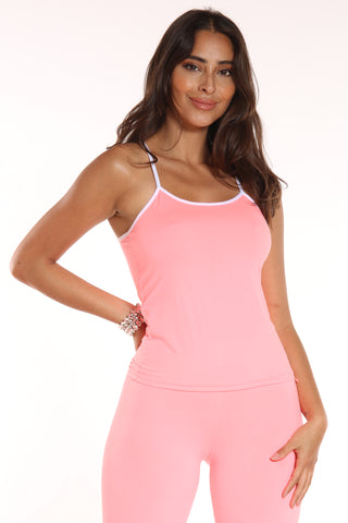 Women's Solid Tank Top - Pink-VIM.COM