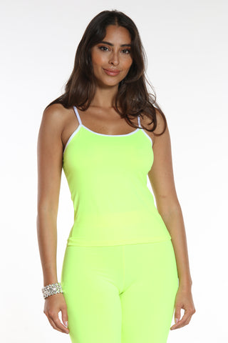 Women's Solid Tank Top - Neon Yellow-VIM.COM