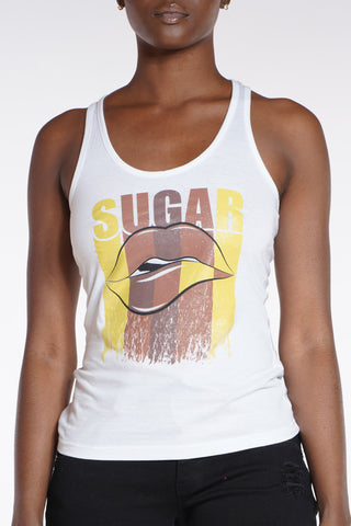 Sugar Lips Tank Top - White-VIM.COM