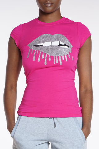 Lips So Good Gliter Tee - Hot Pink-VIM.COM
