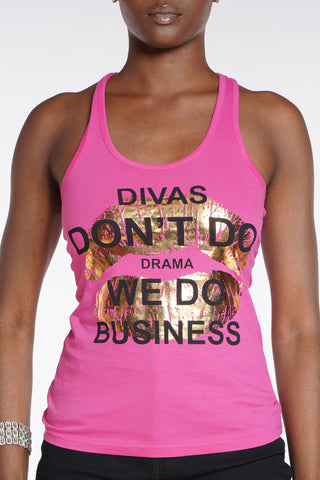 Diva's Don't Do Drama Tank Top - Hot Pink-VIM.COM