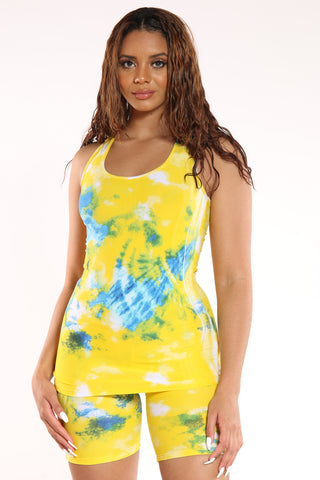 Women's Tie Dye Tank Top - Yellow Blue-VIM.COM
