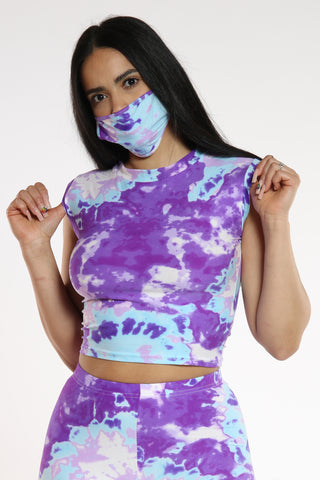 Women's Tie Dye Tank Top - Purple-VIM.COM