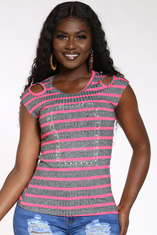 Women's Striped Studs Now Or Never Top - Pink-VIM.COM