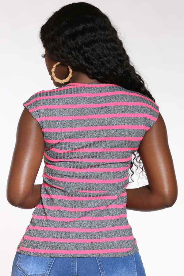 Women's Striped Studs Now Or Never Top - Pink