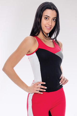 Women's Rachel Color Block Tank Top - Black Red-VIM.COM