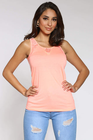 Women's Debrah Lace Trim Tank Top - Peach-VIM.COM