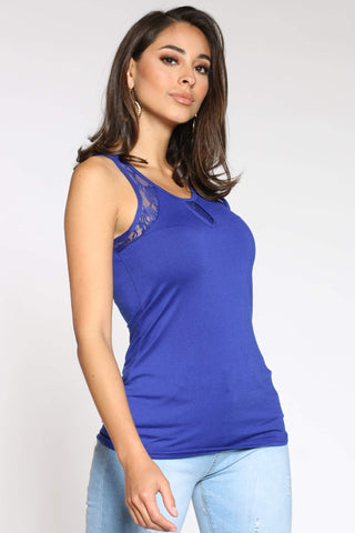 Women's Debrah Lace Trim Tank Top - Royal-VIM.COM