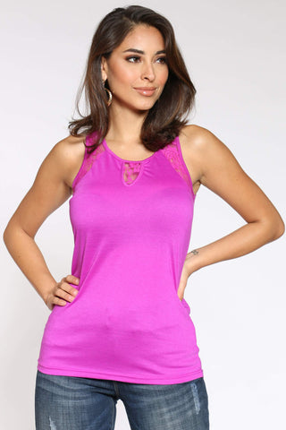 Women's Debrah Lace Trim Tank Top - Purple-VIM.COM