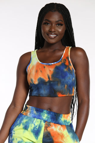 Women's Tie Dye French Terry Crop Tank Top - Royal Rainbow-VIM.COM