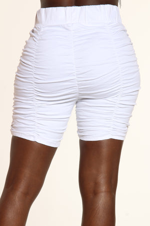 Sun Fun Rouched Short - White