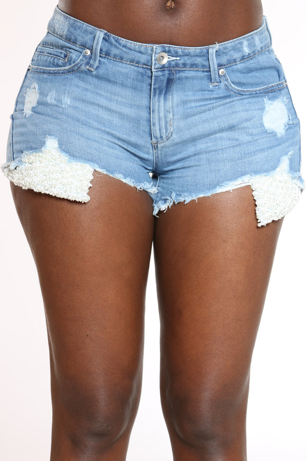 Women's Fray Hem Pearl Trim Booty Short - Blue-VIM.COM