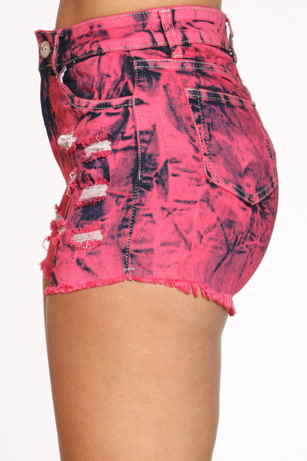 Women's Tie Dye Ripped Booty Short - Pink