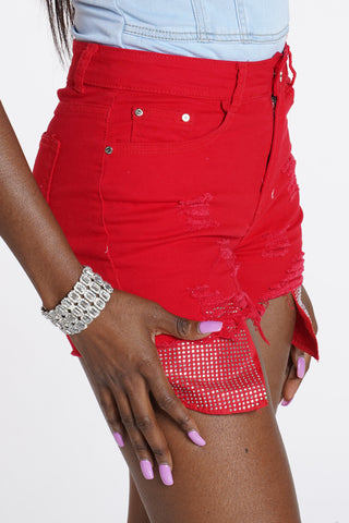 Drunk In Love Rhinestone Short - Red-VIM.COM