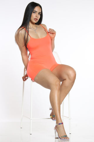 Women's Classic Solid Short Catsuit - Neon Orange-VIM.COM