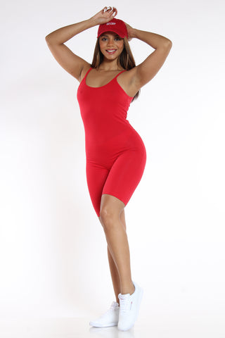 Women's Short Classic Catsuit - Red-VIM.COM