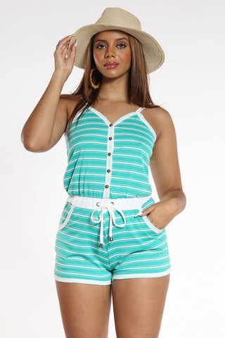 Women's Striped Romper - Jade-VIM.COM