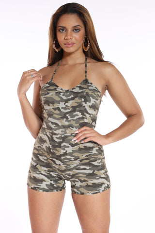 Beyond Good Camo Romper - Grey-VIM.COM