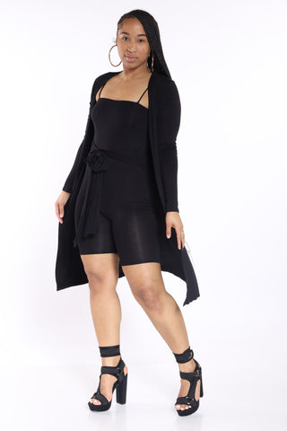 2pc Cardigan Romper - Black-VIM.COM