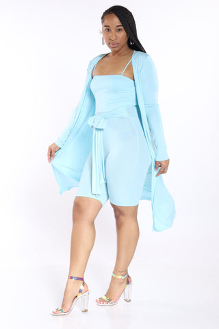 Not With It Romper & Cardigan Set - Blue-VIM.COM