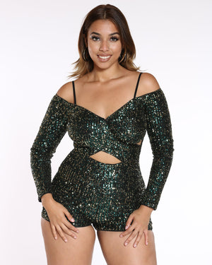 VIM VIXEN Sequin Off Shoulder Romper - Green - ShopVimVixen.com
