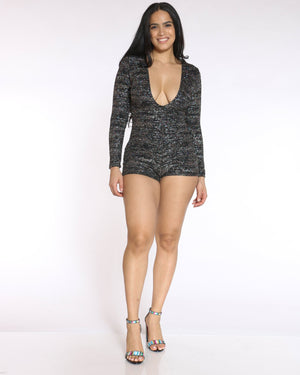 Women's Candy Deep V Glitter Romper - Black