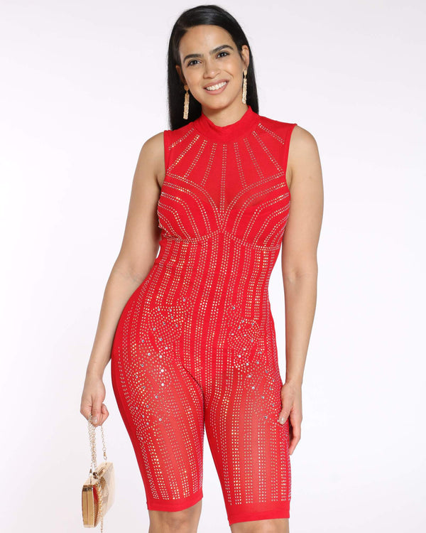 Women's Rhinestone Short Catsuit - Red