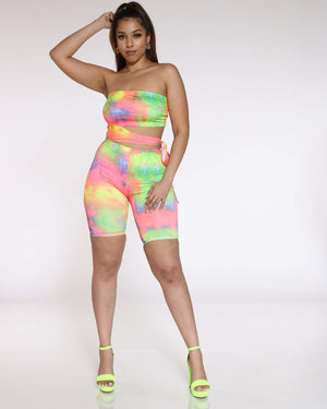 Women's Tie Dye Cut Out Romper - Multi