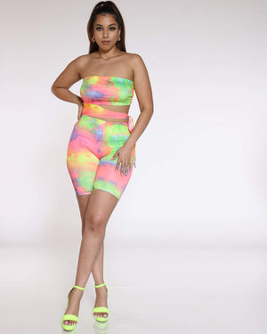 Women's Tie Dye Cut Out Romper - Multi-VIM.COM