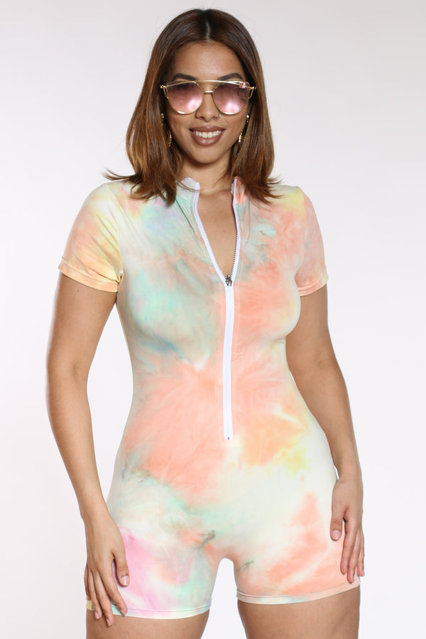 Women's Tie Dye Front Zip Shortsuit - Pink Yellow