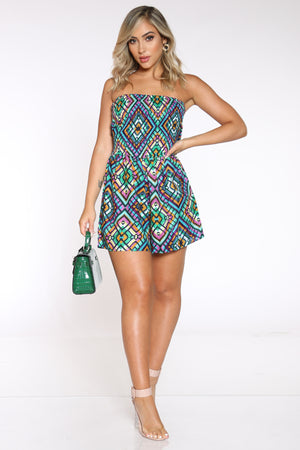 Women's Printed Open Back Romper - Blue-VIM.COM