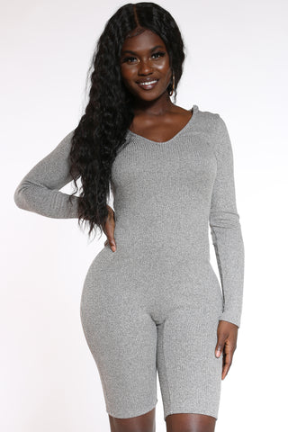Women's Ribbed Hooded Short Catsuit - Heather Grey-VIM.COM