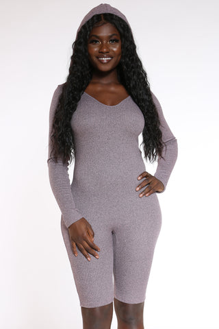 Women's Ribbed Hooded Short Catsuit - Mauve-VIM.COM