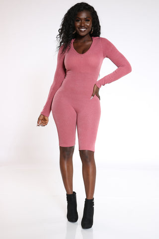 Women's Ribbed Textured Hooded Short Catsuit - Mauve-VIM.COM