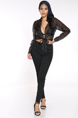Women's Organza Front Tie Top - Black